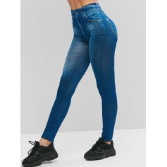 High Waist Printed Jeggings - Blue Xl