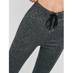 Drawstring Heathered Leggings - Multi-c S