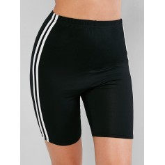 High Waisted Racing Stripes Biker Shorts - Black Xl