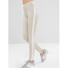 Lace Up Stripe Side Sports Leggings - Platinum M