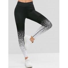 High Waist Speckled Sports Leggings - Multi-b M