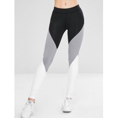 Athletic Color Block Gym Sport Leggings - Black L