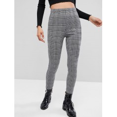 High Waist Houndstooth Print Leggings - Multi-a S
