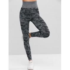 Camouflage High Waist Knitted Leggings - Multi M