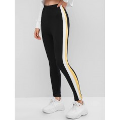 Contrast Side Striped High Waist Leggings - Black S