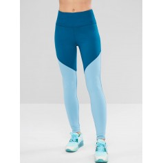Skinny Color Block Workout Leggings - Silk Blue M