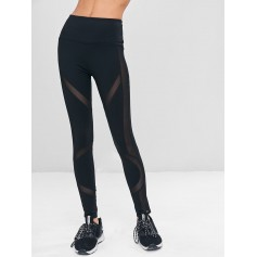 High Waist Mesh Insert Workout Leggings - Black M