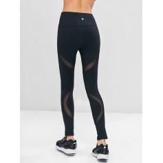 High Waist Mesh Insert Workout Leggings - Black M