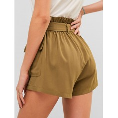Frilled Pocket Paperbag Waist Shorts - Camel Brown L
