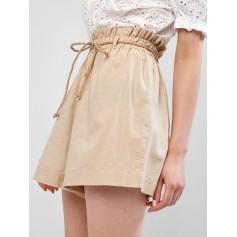 Rope Belt Paperbag Shorts - Sand S