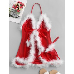 Christmas Feather Trim Lingerie Babydoll Set - Red M