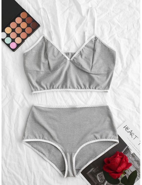 Bralette Contrast Piping Heather Lingerie Set - Gray M