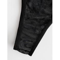 Lace Eyelash Underwire Scalloped Lingerie Set - Black S