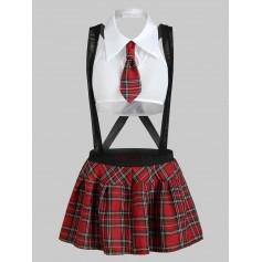 Plaid Suspender Schoolgirl Lingerie Apparel - White S