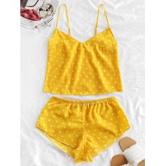 Polka Dot Cami Pajama Set - Yellow M