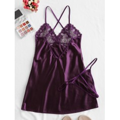 Crisscross Lace-trimmed Satin Chemise - Purple Iris L