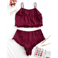 Ruffle Trim Solid Pajama Set - Red Wine M
