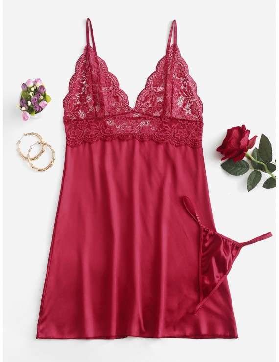 Lace Insert Backless Satin Babydoll - Lava Red M
