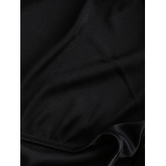Satin Trim Short Pajama Set - Black M