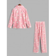 Rabbit Fuzzy Pocket Pajama Pants Set - Pink M