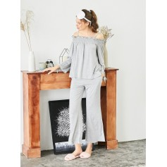 Cold Shoulder Smocked Top And Pants - Gray M