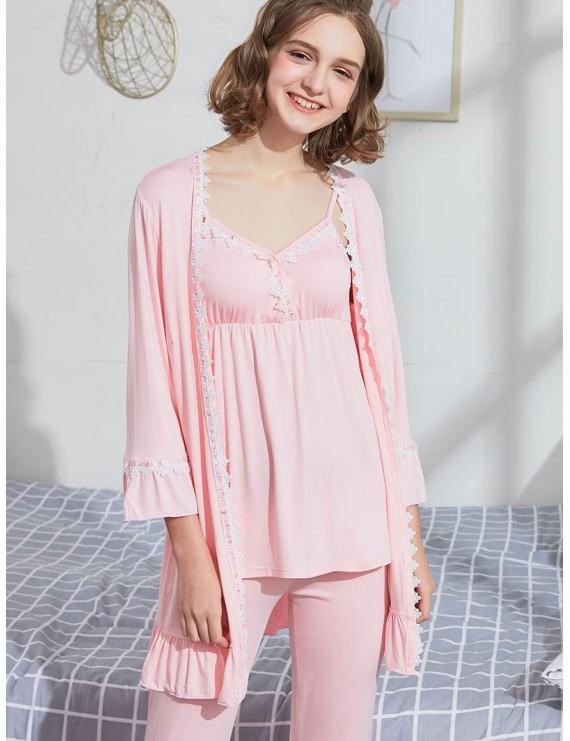 Padded Cami Top Pants Robe Matching Pajama Set - Pink Xl