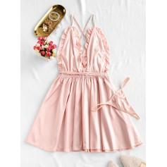 Frilled Backless Satin Night Dress - Deep Peach