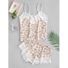 Cami Tiny Flower Lace Insert Pajama Set - Multi-a M