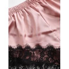 Color Block Lace Insert Satin Pajama Shorts Set - Pink Xl