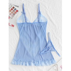 Bowknot Lace Insert Frilled Lingerie Dress - Day Sky Blue S