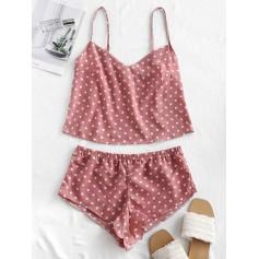 Polka Dot Crop Pajama Set - Lipstick Pink L