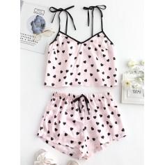 Heart Silky Pajama Shorts Set - Multi-a M