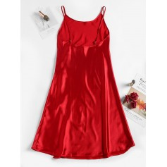 Satin Slit Cami Night Dress - Red M