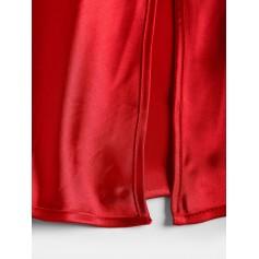 Satin Slit Cami Night Dress - Red M
