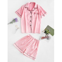 Button Up Piping Satin Pajama Suit - Pig Pink M