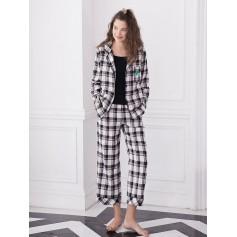 Long Sleeve Checked Pajama Set - Black Xl