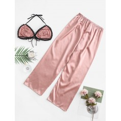 Color Block Satin Pajama Pants Set - Orange Pink M