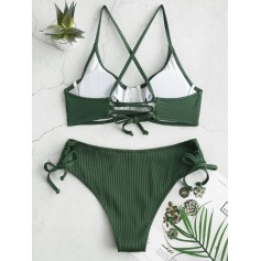 Ribbed Cinched Lace-up Underwire Swimwear Swimsuit - Medium Forest Green L