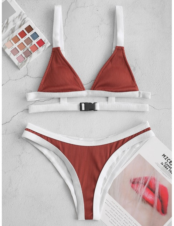 Buckled Contrast Piping Textured Ribbed Bikini Swimsuit - Sepia S