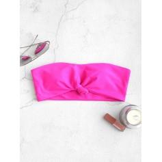 Knot Hem Bandeau Swimwear Top - Hot Pink S