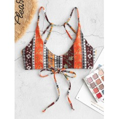 Bohemian Flower Strappy Bikini Top - Multi-c M