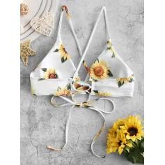 Crisscross Lace-up Sunflower Swimwear Top - White S