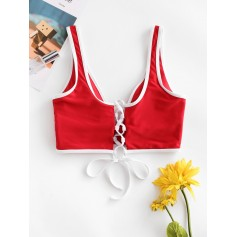 Contrast Piping Plunging Lace Up Bikini Top - Lava Red M