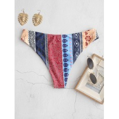 Bohemian Flower Paisley High Leg Bikini Bottom - Multi-a M