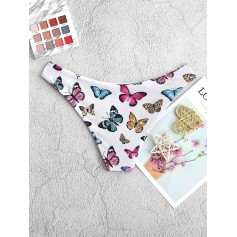 Butterfly Print High Leg Bikini Bottom - Multi-a S