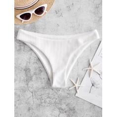 High Leg Ribbed Bikini Bottom - White M