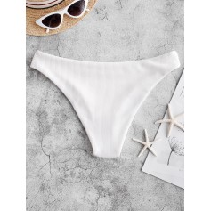 High Leg Ribbed Swimwear Bottom - White M