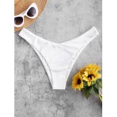 High Leg Plain Bikini Bottom - White S
