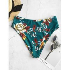 Floral High Waisted Bikini Bottom - Medium Sea Green S