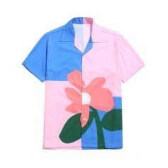 Color Block Flower Print Button Shirt - Multi-b L